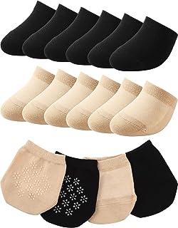 SATINIOR, 12 pares de calcetines para dedos del pie, sin costuras, antideslizantes, mitad de calcetines