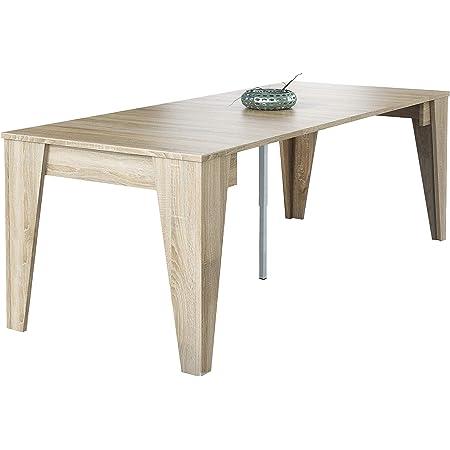 Skraut Home - Table Console TM, Console de Salle à Manger Extensible avec rallonges jusqu'à 239 cm, Couleur chêne, fermée : 90x53,6x74,6cm