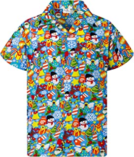 KAMEHAMEHA Hawaiian Shirt for Men Funky Casual Button Down Very Loud Shortsleeve Unisex X-Mas Christmas Allover