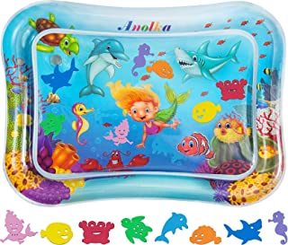 """Anolka Tummy Time Baby Water Mat - Largest 27.5"""" x 21.5"""" Inflatable Sensory Baby Toy Gift 3/6/9/12 Months Boy&Girl -8 Uniq..."""