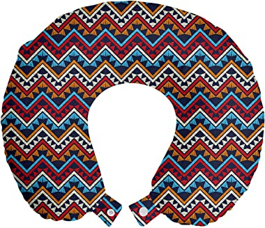 "Lunarable Aztec Travel Pillow Neck Rest, Bohemian Repeating Pattern of Zigzags and Triangles Folk, Memory Foam Traveling Accessory for Airplane and Car, 12"", Indigo and Multicolor"