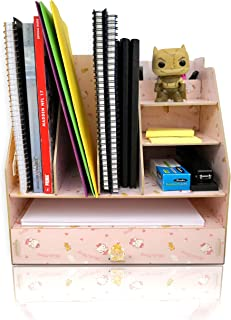 Wood Desk Organizer with Drawer and Upright File sorters for Holding Books, folders, Supplies, Accessories. A Desktop Essential and Paper Holder for Home, Office, and College Dorm (Kitty, 3-Tier)