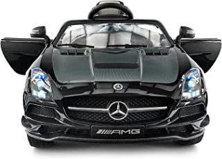 Carbon BLACK SLS AMG Mercedes Benz Car for Kids, 12V Powered Kids Ride On Car, Leather Seat, LED Lights, Parental Remote, Built-in LCD Touch Screen TV Dashboard, Stroller Seatbelt