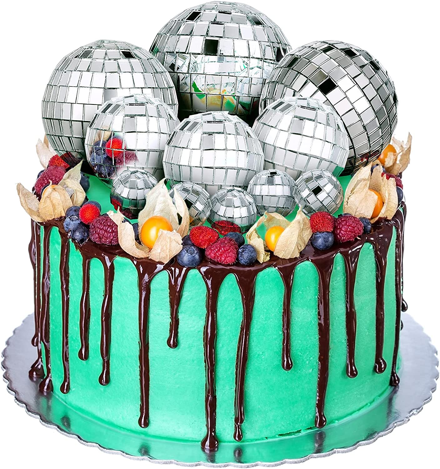 11 Pieces Disco Ball Cake Decoration Disco Ball Table Decorations Disco Ball Centerpiece Decor 70s Disco Themed Cake Toppers for Birthday Christmas Disco Theme 70s Party Dance Party Supplies