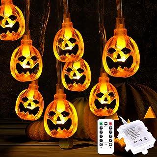 Qxmcov Halloween Lichterketten, Kürbis Lichterkette Batterie Betrieben 3.5m 30 LED Lichterketten Außen Halloween Deko Lich...