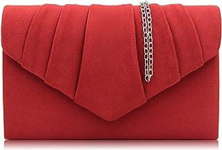 Milisente Clutch Damen, Elegante Wildleder Clutch Umschlag Crossbody Klassisch Clutch Tasche Abendtasche(Rot)