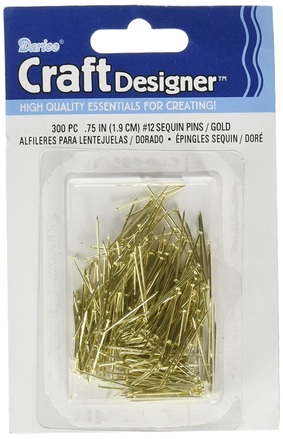 Darice 38042 Sequin PIN NO12 Gold Iron .75IN 300PC Box, 0.75