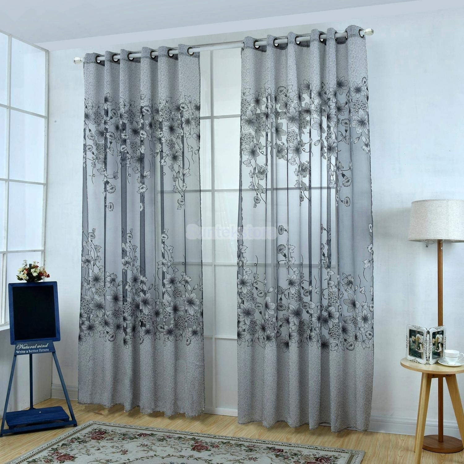 Floral Curtain Home Room Decor Kitchen Sheer Cafe Window Panel Drape Grey