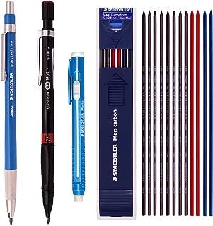 Staedtler Mars Writing Supplies Set composed Lead Holder(780C), Stick Eraser(52850) & Lead 2mm HB 1 Dozen Mix Color (8 black + 2 red + 2 blue) +Barunson 2.0 Pencils