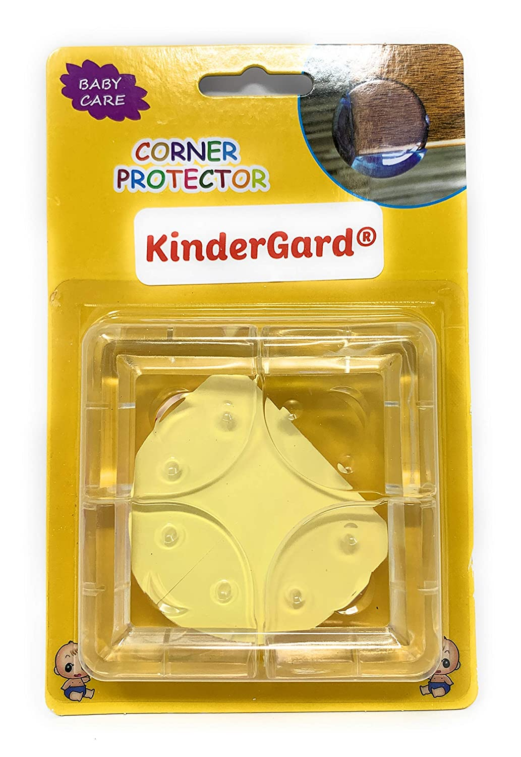 (Set of 4) Corner Protector BabyProof Safety, Medical Grade Clear Edge Softeners, Child Proof Corner Bumpers, Toddler, Home, Table, Adhesive, DIY, Easy, Guards, Accident Prevention by KinderGard