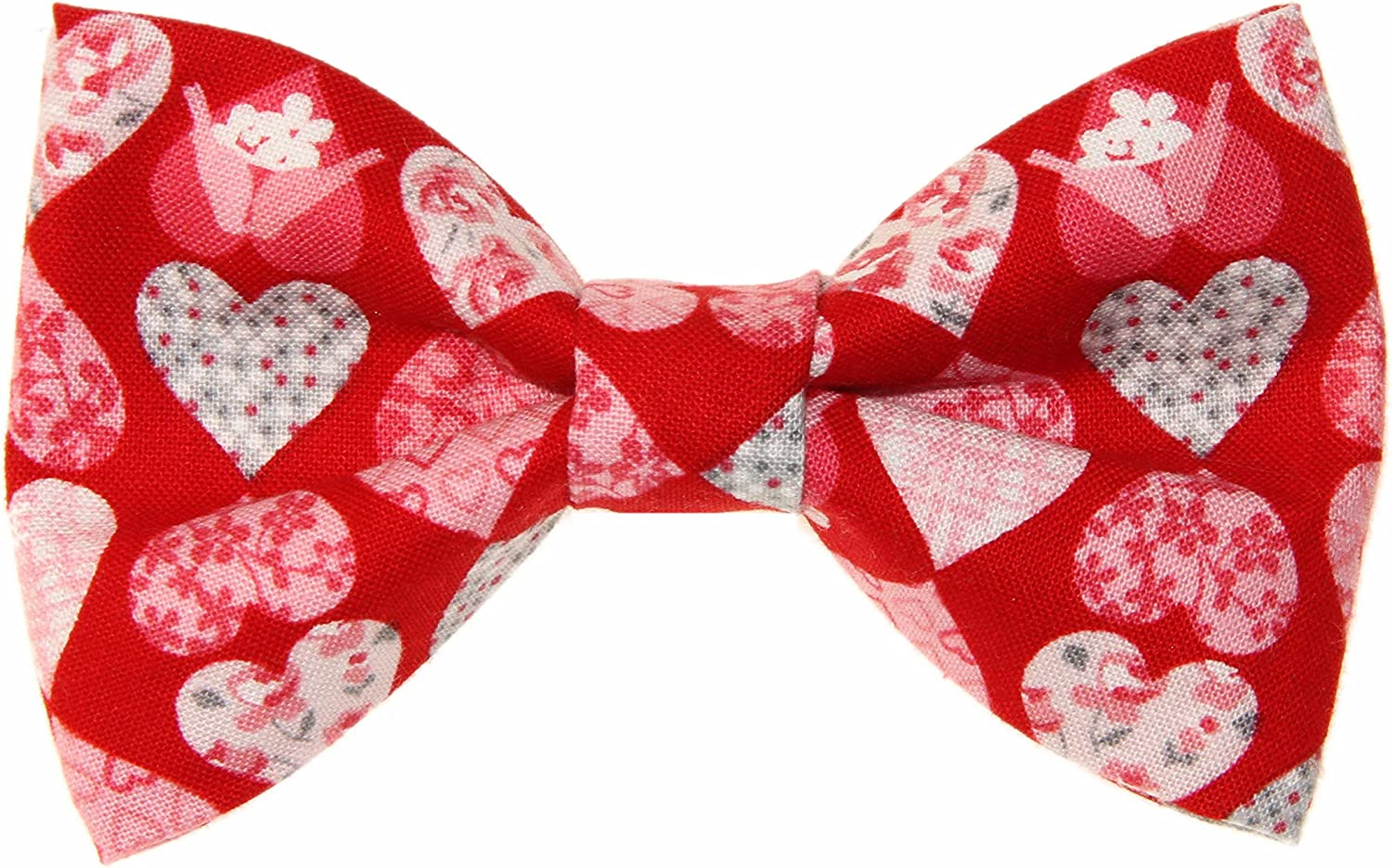 Boys Red With Hearts Clip On Cotton Bow Tie Valentine's Day Bowtie