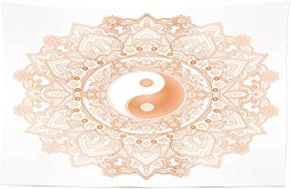 Lunarable Ying Yang Tapestry, Circle Yin Yang Mandala Unity and Peace in Opposites Retro Boho, Fabric Wall Hanging Decor for Bedroom Living Room Dorm, 45