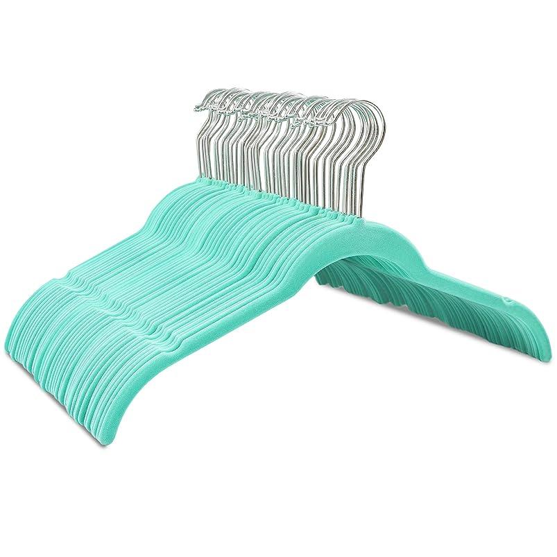 Juvale Velvet Shirt/Dress Hangers - 50-Piece Non-Slip Slim Velvet Hangers, Space Saving Design, for Delicate Clothing, Teal vwvqvfjy610508