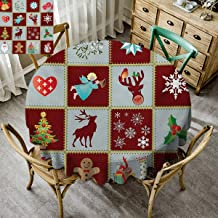 Christmas Home Round Tablecloth Xmas Before Christmas Decorations Decor Winter Everyday Use Lattice Christmas Tree Reindeer Snowflake Angel Holly Gingerbread Colorful - 35