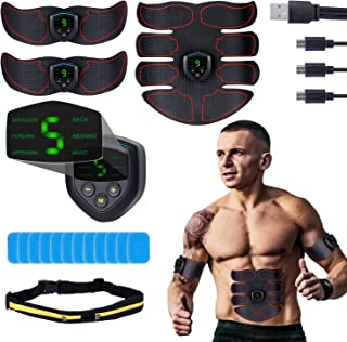 QUNSE ABS Stimulator EMS Muscle Trainer - USB Rechargeable, LCD Display, 6 Modes, 9 intensities Abdominal Toner Belts, with 12p Replacement Gel Pads and Waist Bag-Workout Home Gyms