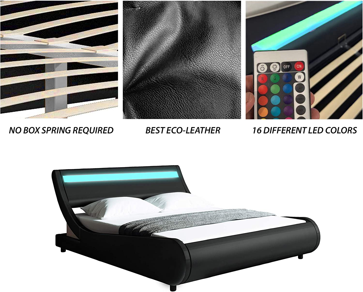 Full, Black PU Faux Leather Upholstered Modern Bed Frame with Headboard Modern Contemporary Wave-Like Curve Upholstered Platform Bed with LED Lights Headboard Low Profile Curved Bed Frame