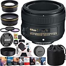 Nikon 50mm f/1.8G AF-S FX NIKKOR Lens Digital SLR Cameras Bundle with Photo and Video Professional Editing Suite, Cleaning Kit for DSLR Cameras, 58mm Filter Kit and Accessories (8 Items)