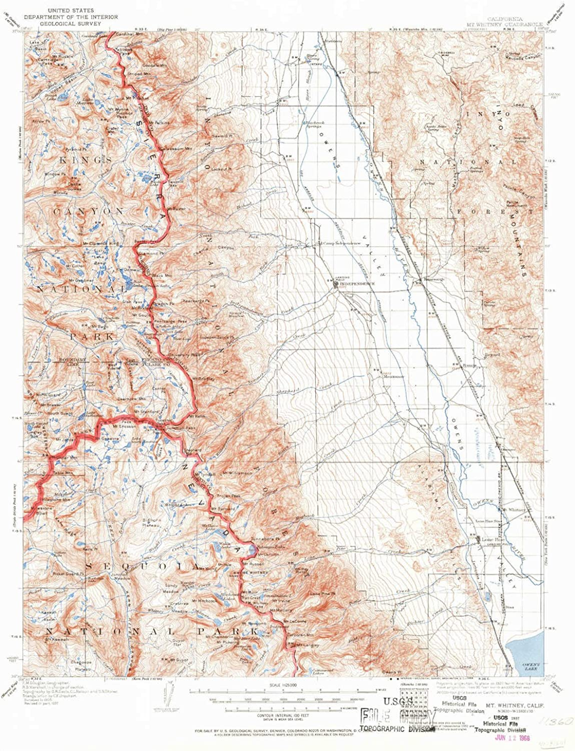 Mt Whitney CA topo map, 1 125000 Scale, 30 X 30 Minute, Historical, 1937, Updated 1968, 20.9 x 16.6 in