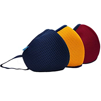 F Gear Combo Color Navy-Yellow-Red F95 Safeguard 7 layer ISO CE SITRA lab certified >95% Bacteria Filtration Reusable and Washable Face Mask pack of 3