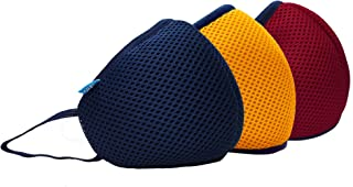 F Gear Unisex's Air Mesh Face Mask (3552_Navy, Yellow and Red_Small)