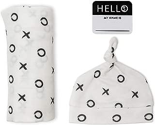 Lulujo Baby Hello World Newborn Hat and Swaddle Blanket Set, Hugs & Kisses