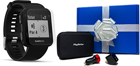 Garmin Approach S10 (Black) Beat Yesterday Gift Box Bundle | +HD Screen Protectors, PlayBetter USB Car/Wall Adapters & PlayBetter Protective Hard Case | Golf GPS Watch | 40,000 Worldwide Courses
