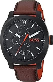 HUGO BOSS Men's CAPE TOWN Stainless Steel Quartz Watch with Leather Strap, Brown, 22 (Model: 1550028)
