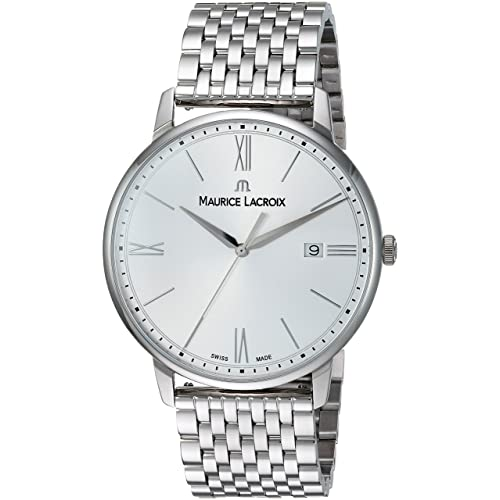 Maurice Lacroix Mens Eliros Swiss-Quartz Watch with Stainless-Steel Strap, Silver,