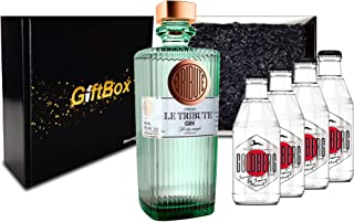 Gin Tonic Giftbox Geschenkset - Le Tribute Gin 0,7l 43% Vol  4x Goldberg Japanese Yuzu Tonic Water 200ml inkl. Pfand MEHRWEG - Enthält Sulfite