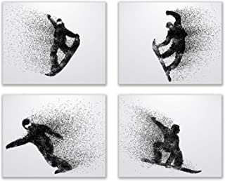 Summit Designs Snowboarding Wall Art Prints - Silhouette – Set of 4 (8x10) Snowboard Poster Photos - Bedroom - Man Cave