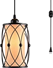HMVPL Vintage Pendant Lighting Fixtures with Plug in Hanging Cord and Dimmer Switch, Farmhouse Cage Hanging Chandelier Industrial Swag Ceiling Lamp for Kitchen Island Dining Table Bed-Room Entryway