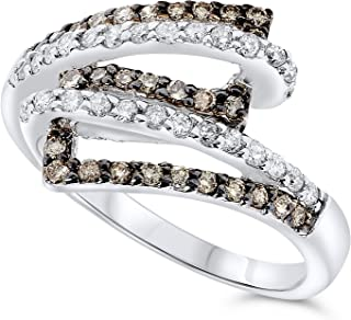 JewelryBliss 14k White Gold White and Champagne Color Diamond Bypass Ring
