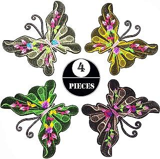 Woohome Patch Sticker, 4 Pz Mariposa Grande Parche Termoadhesivo, Parche de Hierro en Parches para Ropa, Mochila, Cortina