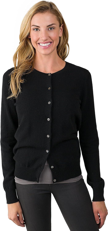 JENNIE LIU Women's 100% Cashmere Button Front Long Sleeve Crewneck Cardigan Sweater