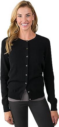 c84a8764396 JENNIE LIU Women s 100% Cashmere Button Front Long Sleeve Crewneck Cardigan  Sweater