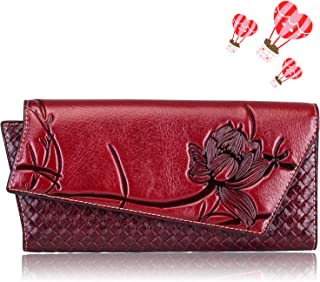 Naisibao Womens Embossed Floral Wallet Designer Handmade Genuine Leather Zip Around Long Clutch Wristlet Card Holder Purse