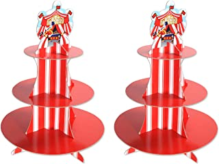 Beistle 54946 2 Piece Circus Tent Cupcake Stands, 16