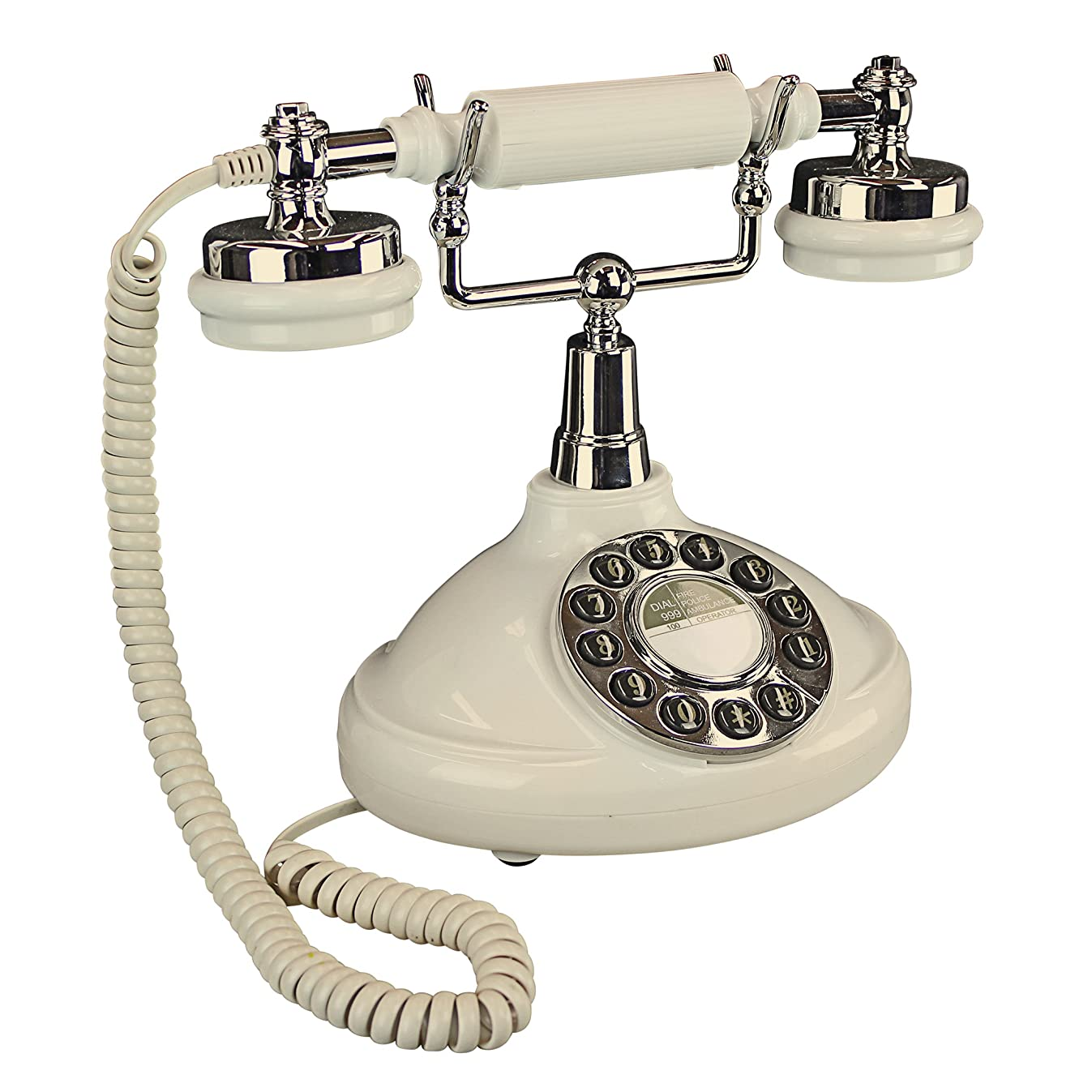 Design Toscano Brittany Neophone 1929 Rotary Corded Retro Phone - Vintage Decorative Telephones, one Size, White