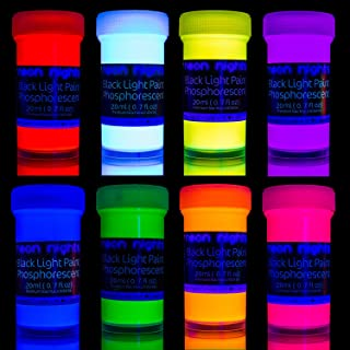 Premium Glow in The Dark Acrylic Paint Set by neon nights – Set of 8 Professional Grade..