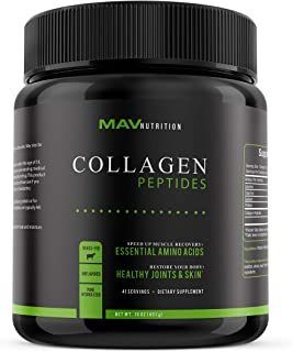 MAV Nutrition Collagen Peptide Protein Powder, Pasture-Raised & Grass-Fed, Pure Hydrolyzed, Unflavored, Non-GMO, 16oz