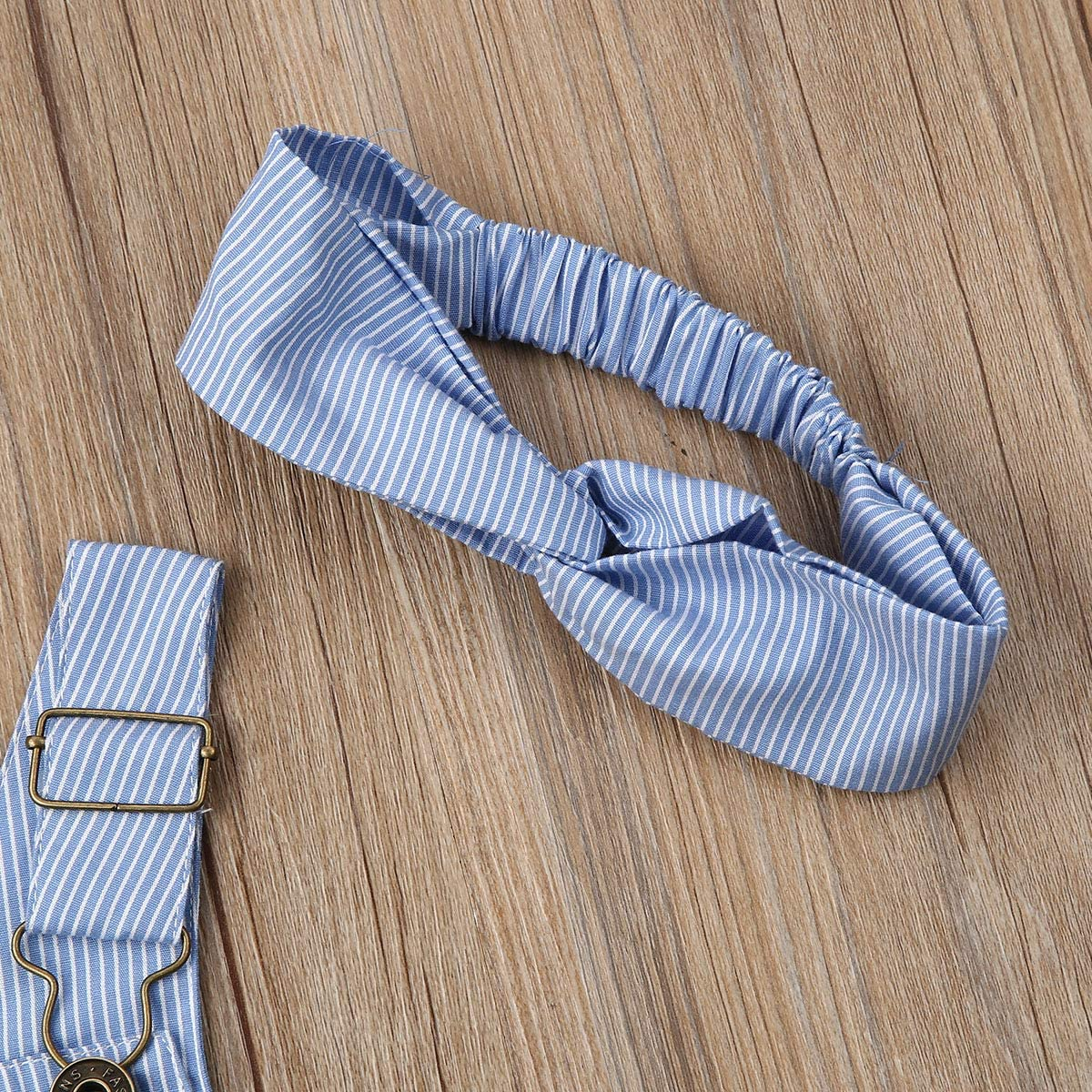 Liyamiee Toddler Baby Girl Boy Matching Outfits Bule Striped Suspender Bib Pants Overalls Strap Suspender Dress Headband