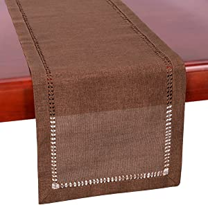 Grelucgo Hemstitch Chocolate Brown Table Runner, Dresser Scarf, Solid Color (14 x 72 Inch)