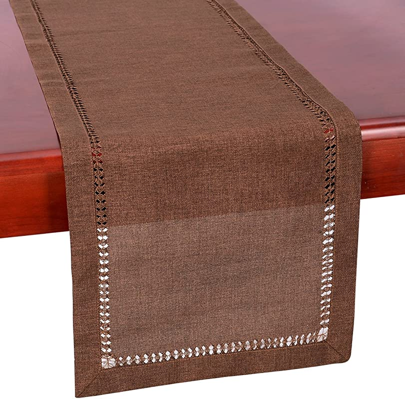 Grelucgo Hemstitch Brown Table Runner Dresser Scarf Solid Color 14 X 36 Inch