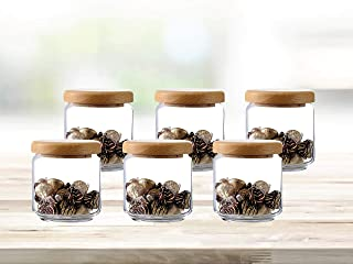 Ocean Glass Storage container Pop Jar with Wooden Lid, Pack of 6, Clear, 500 ml, B0251706