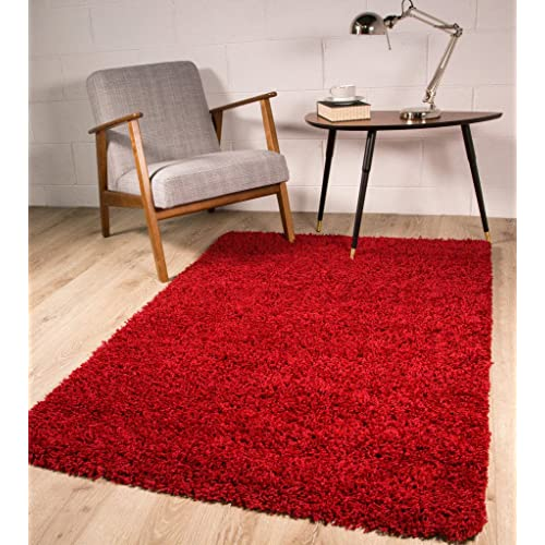 SOFT THICK LUXURY WINE SHAGGY RUG 9 SIZES AVAILABLE 60cm x 110cm (2ft x 3ft7