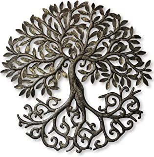 it's cactus - metal art haiti Tree of Life, Decorative Sculptures, Home Decor Wall Hangings, Family Tree, Roots, Flowers, 24 in. x 24 in. (Dancing Tree)