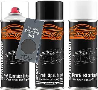 TRISTARcolor Autolack Spraydosen Set für Kunststoff Stoßstange für Mercedes/Daimler Benz 992 Selenitgrau Metallic Haftgrund Basislack Klarlack mit Weichmacher Sprühdose