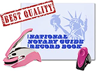 3 Product Breast Cancer Awareness Notary Supplies Value Package | Trodat Ideal Seal Embosser, Pink Mobile Printy 9413 Stamp, National Notary Guide Record Book | New Jersey