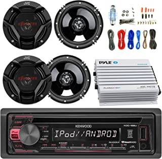 "Kenwood KDC168U Car CD Player Receiver USB AUX Radio - Bundle Combo With 4x JVC CSDR620 6.5"" Inch 300-Watt 2-Way Black Audio Coaxial Speakers + + 4-Channel Amplifier + Amp Kit"