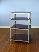 """VTI BL404SSC-13-4 Shelf Audio Rack TV Stand up to 27"""" TVs with Silver Frame, Silver Cap/Spikes and Cherry Shelf."""